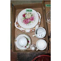 Flat w/Mustache Mug, 2 China Plates, Coffe Cup, Tea Cup w/Saucer & Salt Shaker