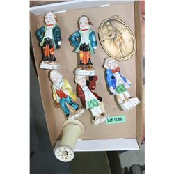 Flat w/Hat Pin Holder, Ivorex Oval Plaque & 5 Hand Painted Figurines