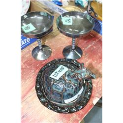 unusual Art Pottery Cheese Dish w/ Lid and 2 Brass Plated Goblets