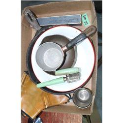 Flat w/Cast Fry Pans, Pr. Ladies Spats, Silver Plate Cup, etc.