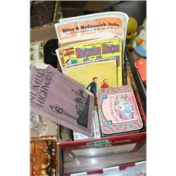 Box w2 Tins, Comic, Farm Books, etc.