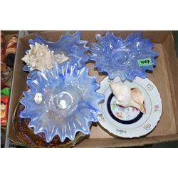 Flat w/3 Blue Murano Glass pcs., Conch Shells, Carnival Glass pcs, etc.