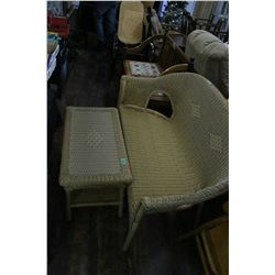 Wicker Love Seat & Wicker Coffee Table