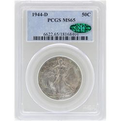 1944-D Walking Liberty Half Dollar Coin PCGS MS65 CAC