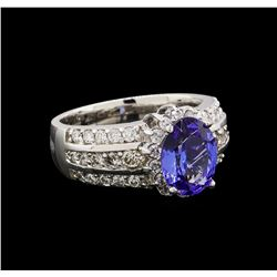 14KT White Gold 2.48 ctw Tanzanite and Diamond Ring
