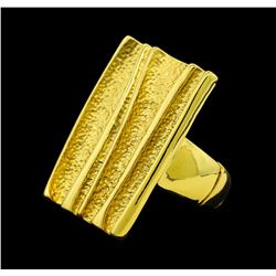 Ridged Style Rectangle Elastic Ring - Gold Plated