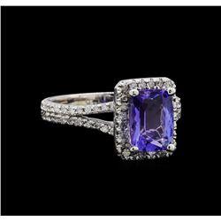 14KT White Gold 1.83 ctw Tanzanite and Diamond Ring