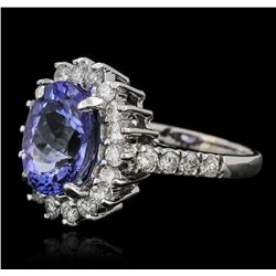 14KT White Gold 3.63 ctw Tanzanite and Diamond Ring