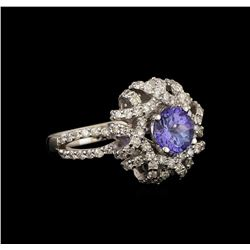 14KT White Gold 1.17 ctw Tanzanite and Diamond Ring