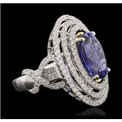 14KT White and Yellow Gold 6.46 ctw Tanzanite and Diamond Ring