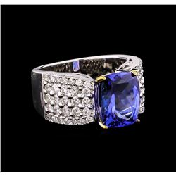 14KT Two-Tone Gold 4.53 ctw Tanzanite and Diamond Ring