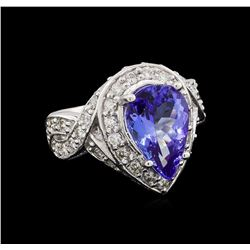 14KT White Gold 3.10 ctw Tanzanite and Diamond Ring