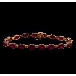 14KT Rose Gold 17.82 ctw Ruby and Diamond Bracelet