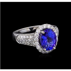 14KT White Gold 2.88 ctw Tanzanite and Diamond Ring