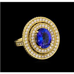 14KT Yellow Gold 3.40 ctw Tanzanite and Diamond Ring