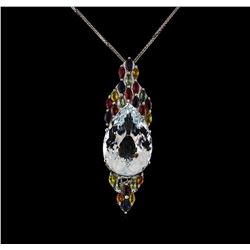 14KT White Gold 23.00 ctw Beryl, Sapphire and Ruby Pendant With Chain