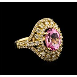 14KT Yellow Gold 2.81 ctw Kunzite and Diamond Ring