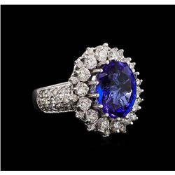 14KT White Gold 5.17 ctw Tanzanite and Diamond Ring