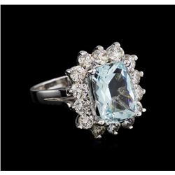 14KT White Gold 3.96 ctw Aquamarine and Diamond Ring