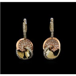 14KT Two-Tone Gold 1.53 ctw Diamond Earrings