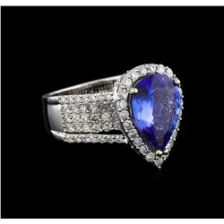 14KT White Gold 4.81 ctw Tanzanite and Diamond Ring