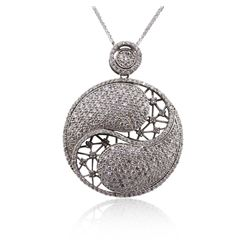 14KT White Gold 3.88 ctw Diamond Pendant With Chain