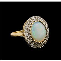 14KT Yellow Gold 2.50 ctw Opal and Diamond Ring