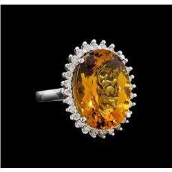 14KT White Gold 12.00 ctw Citrine and Diamond Ring