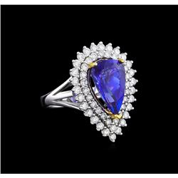 14KT Two-Tone Gold 4.13 ctw Tanzanite and Diamond Ring