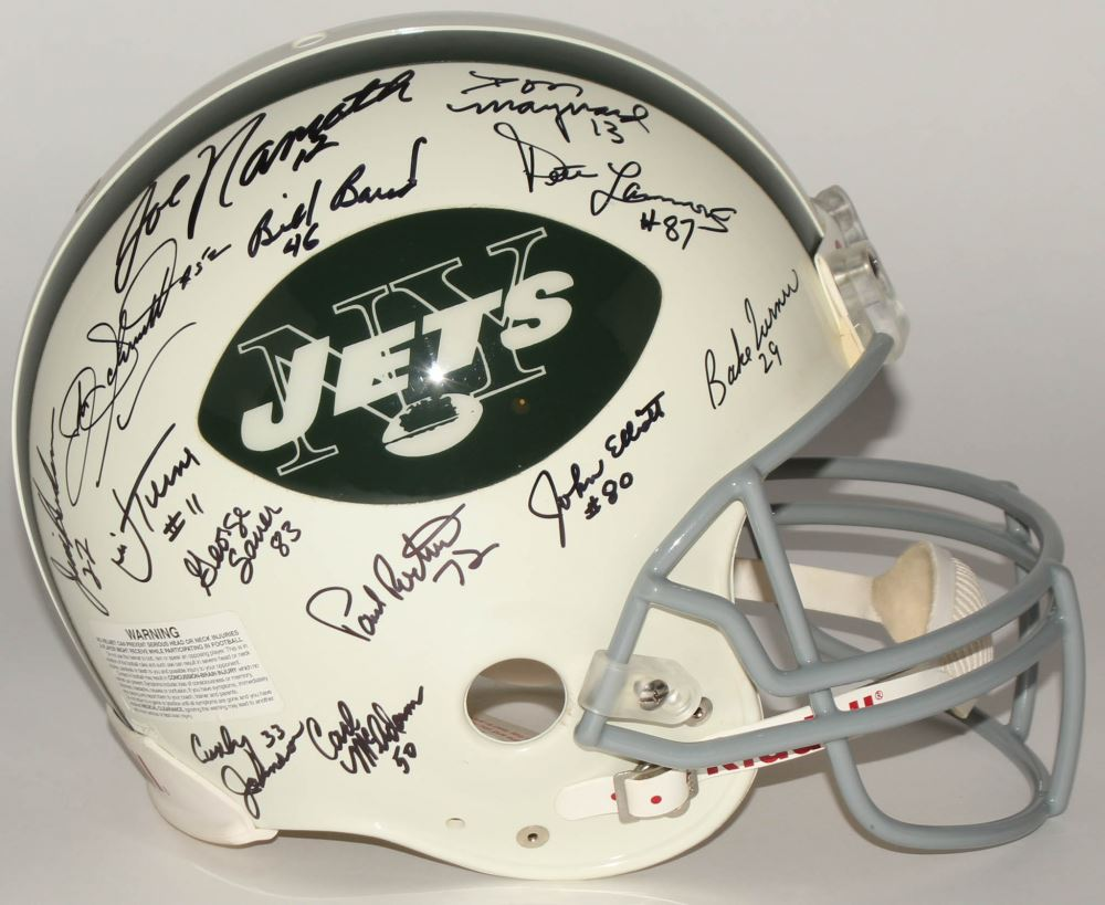 743f2ff6 1969 Jets Authentic On-Field Full Size Helmet Signed By (27) With ...