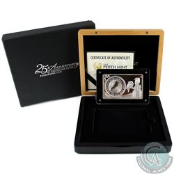 2015 Australia 25th Anniversary of the Silver Kookaburra 3oz Bar/Coin (Tax Exempt). This item contai