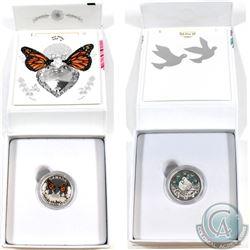 2016 Canada $10 & 2017 Canada $3 Celebration of Love Fine Silver Coin set (Tax Exempt). 2pcs.