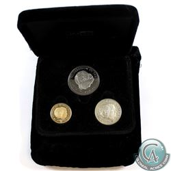 1981 Johnson Matthey Limited Edition 3-coin Gold, Silver, & Nickel Set Commemorating the marriage of