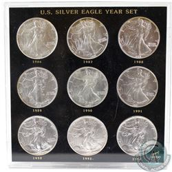 1986-1994 United States $1 Silver Eagle Year Set. You will receive one of each dates released from 1