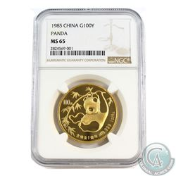 China 1985 Gold 100 Yuan 1oz Gold Panda NGC Certified MS-65!  (Tax Exempt)