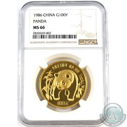 China 1986 Gold 100 Yuan 1oz Gold Panda NGC Certified MS-66!  (Tax Exempt)