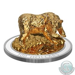 2017 $100 Sculpture of Majestic Canadian Animals - Grizzly Bear Fine Silver Coin (Tax Exempt)
