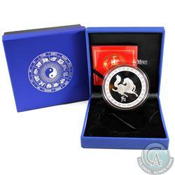 Australia; Perth Mint: 2014 Royal Australian Mint 5oz Year of the Horse. 999 Fine Silver Coin in Att