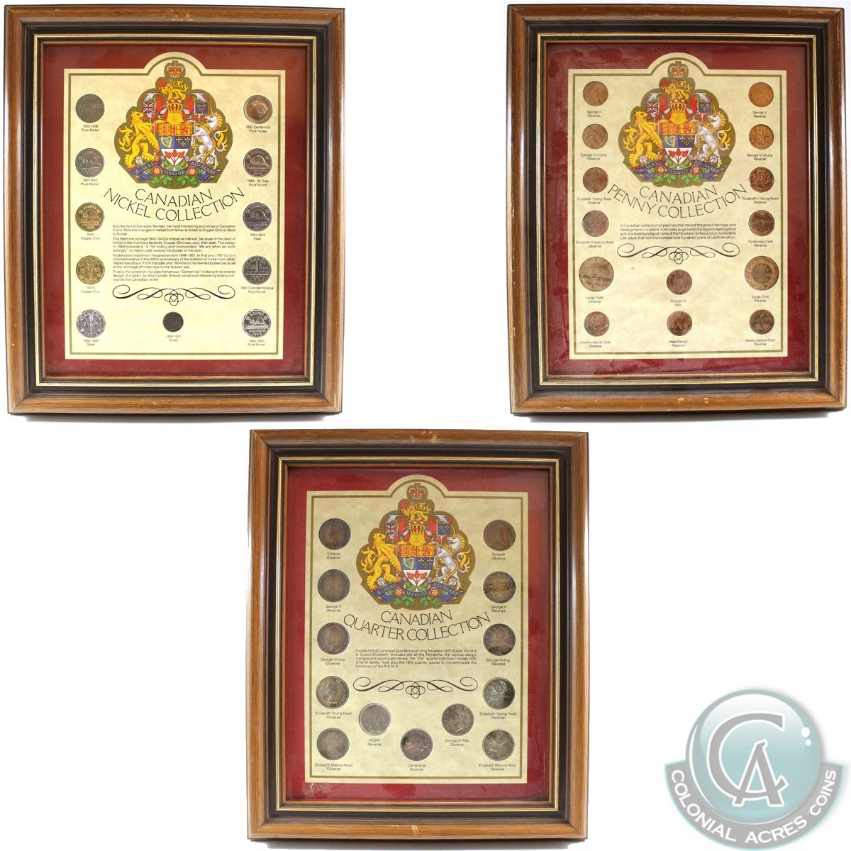 Canada Penny, Nickel, and Quarter Collections in Frames  You will receive  Collections, 14x 1-cent Co