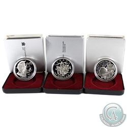1994, 1995, 1996 Canada Proof Silver Dollar Collection. 3pcs.
