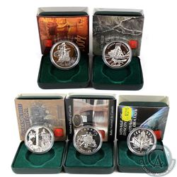 2000-2004 Canada Proof Silver Dollar Collection. 5pcs.