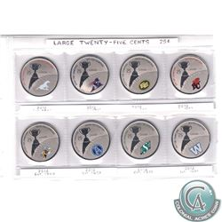 RCM Lot; Complete Set of 2012 Canada 25-cent CFL Team Coins Taken from the Original Coin and Stamp S