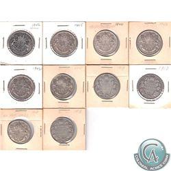 1913-1949 Canada Silver 50-cents: 1913, 1918, 1919, 1941, 1942, 1943, 1944, 1945, 1946 & 1949. 10 pc