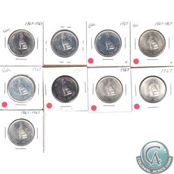 Lot of 1967 Canada Silver 50-cent. 9pcs