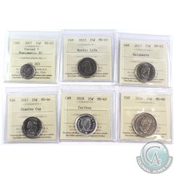 2007-2018 Canada 10-cent, 25-cent & 50-cent ICCS Certified - 2007 10-cent Curved 7 MS-67 NBU, 2013 2