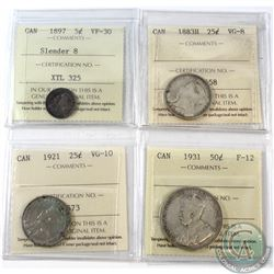 1897-1931 Canada 5-cent, 25-cent & 50-cent ICCS Certified - 1897 5-cent Slender 8 VF-30, 1883H 25-ce