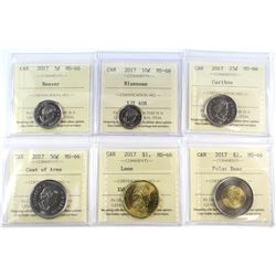 2017 Canada 5-cent to $2 ICCS Certified MS-66. 6pcs