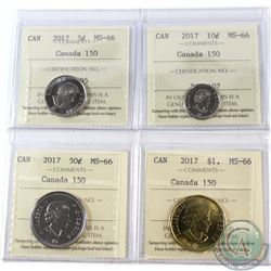 2017 Canada 150 5-cent, 10-cent, 50-cent & Loon $1 ICCS Certified MS-66. 4pcs