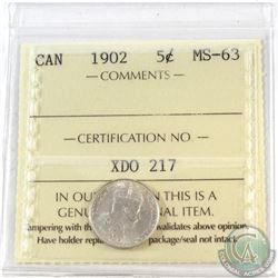 1902 Canada 5-cent ICCS Certified MS-63