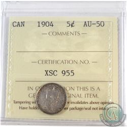 1904 Canada 5-cent ICCS Certified AU-50